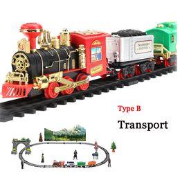 Classic Rc Set de tren con humo Sonidos realistas Luz Control remoto Coche de ferrocarril Regalo de Navidad para niños Juguete