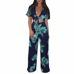 $enCountryForm.capitalKeyWord UK - 2018 Summer Print Woman Set 2 Piece Sets Long Pants and CropTop Print Femme Flare Sleeve Sexy V Neck Slim Party Girl Suit