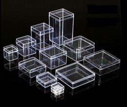 Discount modern black beds - 20pcs lot Square Box Clear Plastic Storage for DIY Tool Nail Art Jewelry Accessory beads stones Crafts case container