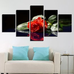 Framed Print Red Abstract NZ - Poster Wall Frame Modular Picture 5 Piece HD Printed Red Flower Green Leaf Still Life Canvas Painting Art Decor Home Living Room