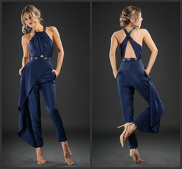 $enCountryForm.capitalKeyWord UK - Designer Navy Blue Jumpsuit Prom Dresses Cross Strap Sash Satin Pant Suits Ankle Length Casual Clothes