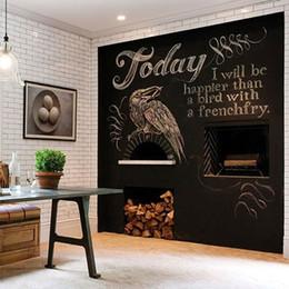 Discount wallpaper decor black - Art Wall Sticker Chalk Board Blackboard Stickers Removable Vinyl Draw Decor Mural Decals Kids Rooms 40*200cm