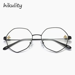 c495927358c 89124 with Cute Bee Anti Blue Ray Polygon Clear Glasses Female Vintage Eyeglasses  Women Frame Oversized Spectacle Eyewear Frame