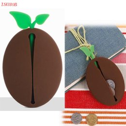 Discount coffee bean pouches - Novelty Silicone Coffee Bean Shape Keyring Key Bag Purse Pouch Holder Xmas Gifts