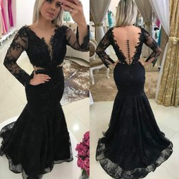 sequin prom dress full sleeves NZ - 2018 Vintage Lace V-neck African Girl Sequins Party Prom Dress Elegant Mermaid Full Length Long Sleeve Evening Dress Free Shipping