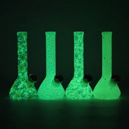 Glow Dark Bongs Silicone NZ - Glow in the dark silicone beaker water pipe oil rig customization glass Bongs Silicone Smoking Water Pipes