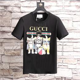 91af6247 Mens Cat T Shirts Canada - Cartoon Cat Print t shirts Mens designer Short  Sleeve Sports