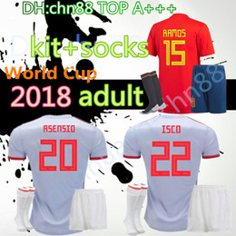 Discount white spain soccer jersey 2018 Jersey adult kit+socks Soccer Jersey 2018 world cup Spain soccer adult sets 2018 MORATA ISCO A.INIESTA ASENSIO Football uniforms sales
