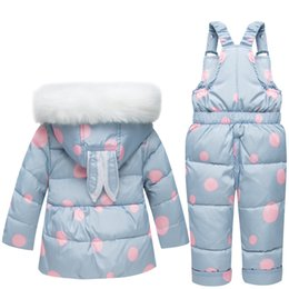 snowsuit infant boy UK - Baby Winter Snow Jumpsuit Infant Toddler Thickening Snowsuit Baby Kids Clothing Boys Girls Newborn Winter Parkas Rabbit Baby