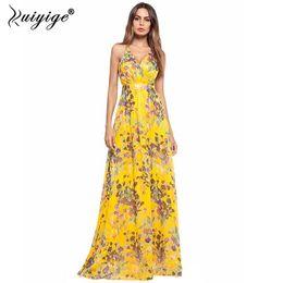 2018 Ruiyige Yellow Floral Print Strappy Dress Chiffon Deep V Neck Sexy  Backless Women Boho Style Summer Beach Dresses Vestidos 4daab24da