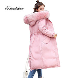 f14684319ac44 Elastic Hooded Fur Collar Winter Down Coat Jacket Long Warm Women Casaco  Feminino Abrigos Mujer Invierno 2018 Parkas Outwear 906