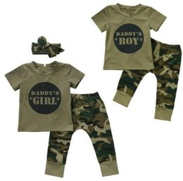 Military Camouflage Clothing NZ - Army Green Camouflage Baby Boys Girls Clothes Newborn Baby T-shirt Tops Pants Outfits Infant Kids Clothing Set