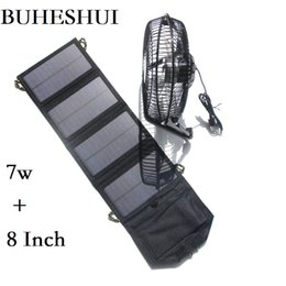 laptop cooling NZ - BUHESHUI Foldable 7W Solar Panel Charger Powered for Outdoor Traveling Fishing Home Office USB Fan 8Inch Cooling Ventilation Fan