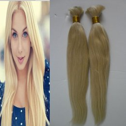 "Crochet Braiding Human Hair Australia - Blonde 2 Bundles Deals Human Braiding Hair Bulk 10""-26"" Braiding Malaysian Straight Bulk Hair Extension Crochet"
