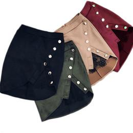 Новая мода женщины дамы высокой талией юбки-карандаши кнопка кружева пэчворк сексуальная Bodycon замша сплит партии повседневная мини-юбка Y1890305
