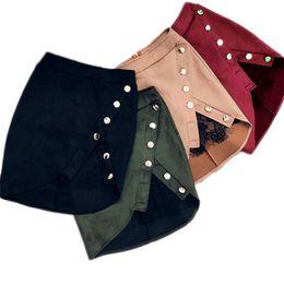 Новая мода женщин дамы высокой талии карандаш юбки кнопки кружева пэчворк сексуальный Bodycon замши кожаная партия случайных мини юбка Y1890305