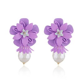 $enCountryForm.capitalKeyWord UK - 2018 Fashional Korea Style Earring Crystal Charm Earring For Women Jewelry Dangle Flower Earrings Pearl Pendant Ear Ring For Wedding