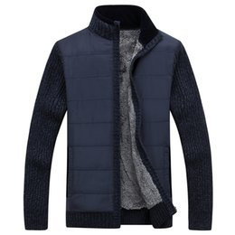 cardigan zipper thick sweaters men UK - Mens Sweater Warm Thick Velvet Cashmere Sweaters Men Autumn Cardigan zipper Top stand Collar Men Casual Clothes
