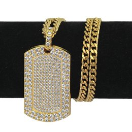 Mens Dog Tags Australia - Mens Hip Hop Necklace Jewelry Full Rhinestone Iced Out Dog Tag Pendant Gold Necklace For Men