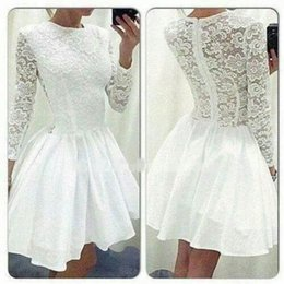 New fashioN dress teeN online shopping - 2019 New Fashion White Homecoming Dress Short Tulle Ball Gown Party Dress Short For Teens Short mini A Line Jewel Long Sleeve Prom Dresses