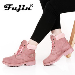 $enCountryForm.capitalKeyWord Australia - 2019 Fujin New Pink Women Boots Lace up Solid Casual Ankle Boots Booties Round Toe Women Shoes winter snow boots warm british style