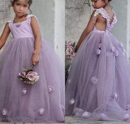 Purple Tutus For Girls NZ - 2018 Lovely Light Purple Ball Gown Wedding Flower Girl Dresses 3D Handmade Flower Puffy Tutu skirtKids Baby Pageant Dress for Party Birthday