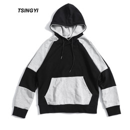 Tsingyi Spring Pullover Patchwork Black and Grey Hooded Hoodies Men Loose  Hip Hop Streetwear Sweat Homme Men Hoodie Sweatshirt