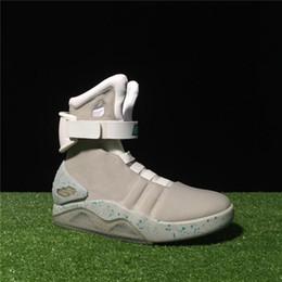 a3325808 AIR Mags Marty McFlys Кроссовки Glow In The Dark Мужская баскетбольная  обувь Обувь Mag Glow Кроссовки Серый Черный Красный Цвет DHL Free Shippin