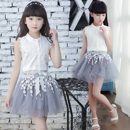 $enCountryForm.capitalKeyWord Australia - Princess Clothing Girls Sets Summer White Cardigan Tops Lace Tutu Layer Skirt 2pcs Set For Big kids Clothes Set Flower Girl Outfit A8985