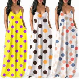 dc236bf9a6da Women Beach Boho Maxi Dress Lady Dot Print Long Dresses for Girl Sexy Tank  Dress V Neck Floor Length Dress