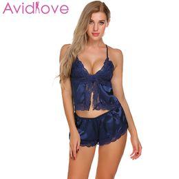99b34f79808 Avidlove Satin Pajama Set Women Top and Short Pant Pyjama Night Sexy Open  Front Lace Sleepwear Nightwear Suit Homewear Clothes