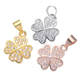 Micro Pave Connectors Australia - 20 pcs lot Micro Pave CZ Diamond leaf clover charm pendant good for jewelry making DIY craft