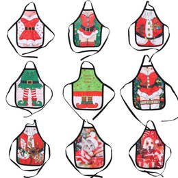 Discount ladies holiday clothing - Small Apron bottle Wine Cover Christmas Sexy Lady Xmas Dog Santa Pinafore red wine bottle wrapper Holiday Bottle clothes