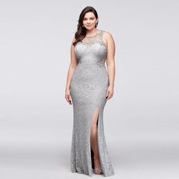 Full Length Party Dresses NZ - Hot Sale Sheath Full Lace Prom Dresses Jewel Neck Cutaway Sides Split Cocktail Gowns Floor Length Plus Size Evening Party Dress