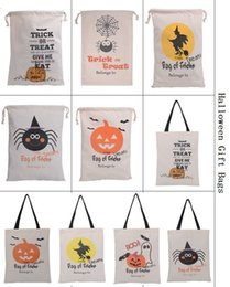 2018 New 10 Styles Halloween Gift Party Bag For Kids Cotton Canvas Tote  Bags Santa Sacks Storage Bag With Spider Pumkin Drawstring Bags
