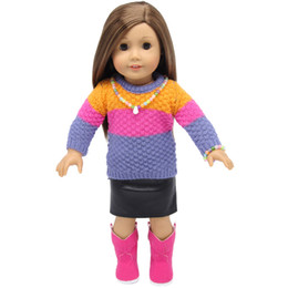 $enCountryForm.capitalKeyWord UK - 18 inchs American Girl doll clothes sweater coat and skirt for child party gift toys--Doll Clothes Accessories for American Girl