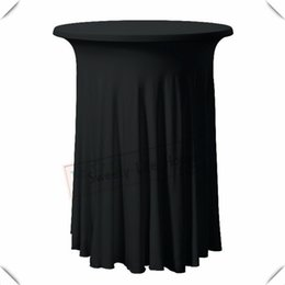 $enCountryForm.capitalKeyWord NZ - Fashion free shipping Black spandex Cocktail table cover Lycra table cloths for Banquet decoration 70cm*110cm Ruffled table cover