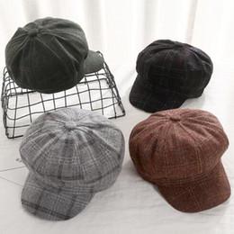 ee737f90ec7 British Ladies Hats NZ - winter woman Beret match Japanese plaid octagon  hat lady of vintage