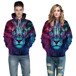 lion hoodies sweatshirt NZ - Wholesale free shipping Men Women Colorful Fashion 3d Sweatshirts Digital Print Color Lion Thin Style Hooded Hoodies