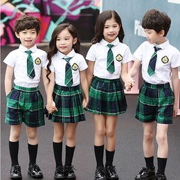 6685491996 Children boys and girls school uniforms suit Lattice College Style Korean  Summer Skirt Set Shorts Set 2019