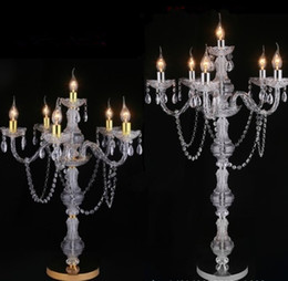 Led Candles For Halloween UK - Acrylic Crystal LED Lamp Wedding Road Lead 6 Arms Candle Holder Shaped for Decoration Six Sizes