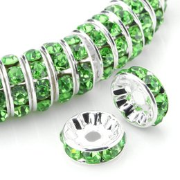 $enCountryForm.capitalKeyWord Australia - 100 Pcs Rhinestone Rondelle Spacer Beads Round Silver Metal Tone Green Czech Crystal Charm Loose Beads for Jewelry Making 6-8mm
