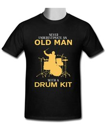 New drum kits online shopping - 2018 New Pure Cotton Sleeves Hip Hop Fashion T Shirt Old Man With A Drum Kit Crew Neck Men Short Sleeve Office Tee