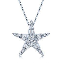 Sea Star Pendant Necklace UK - Pentagram copper micro set zircon jewelry necklace sea star quality pendant necklaces HW-29