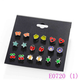 cute fox jewelry Canada - 3 set 9 Pairs Cute Kids baby Stud Earrings Sets Women Small Heart Ladybug Frog Fox Bear Owl Ear Studs children Jewelry E0720