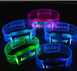 Wholesale Led Rave Toy Happy Word Flashing Wristband Glow Bangles Bands Jelly Bracelets s s Fancy Dress Kid Party Favors Presents LED Armband