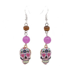 Chinese  Fashions Silver Bali Style Skull Natural Stone Bead Dangle Earrings For Women Gift Jewelry manufacturers
