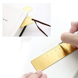 small bookmarks UK - Creative EDC Tool Small Copper Ruler Brass Products Mini Scale Ruler Portable Vintage Bookmark Ruler 12CM Support FBA Drop Shipping H458F