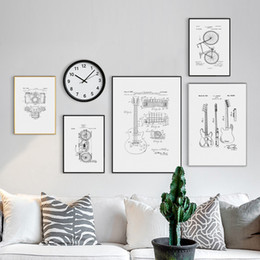 Discount paintings guitars wall - Retro Bicycle Motorcycle Guitar Structure Drawing Canvas Painting Posters And Prints Wall Art Pictures Living Room Home