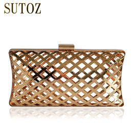 metallic metals NZ - Special Metallic Hollow Out Women's Pouch Chain Messenger Bags Evening Bag Clutch Metal Box Ladies Purse Shoulder Bag BA309 Y18103004